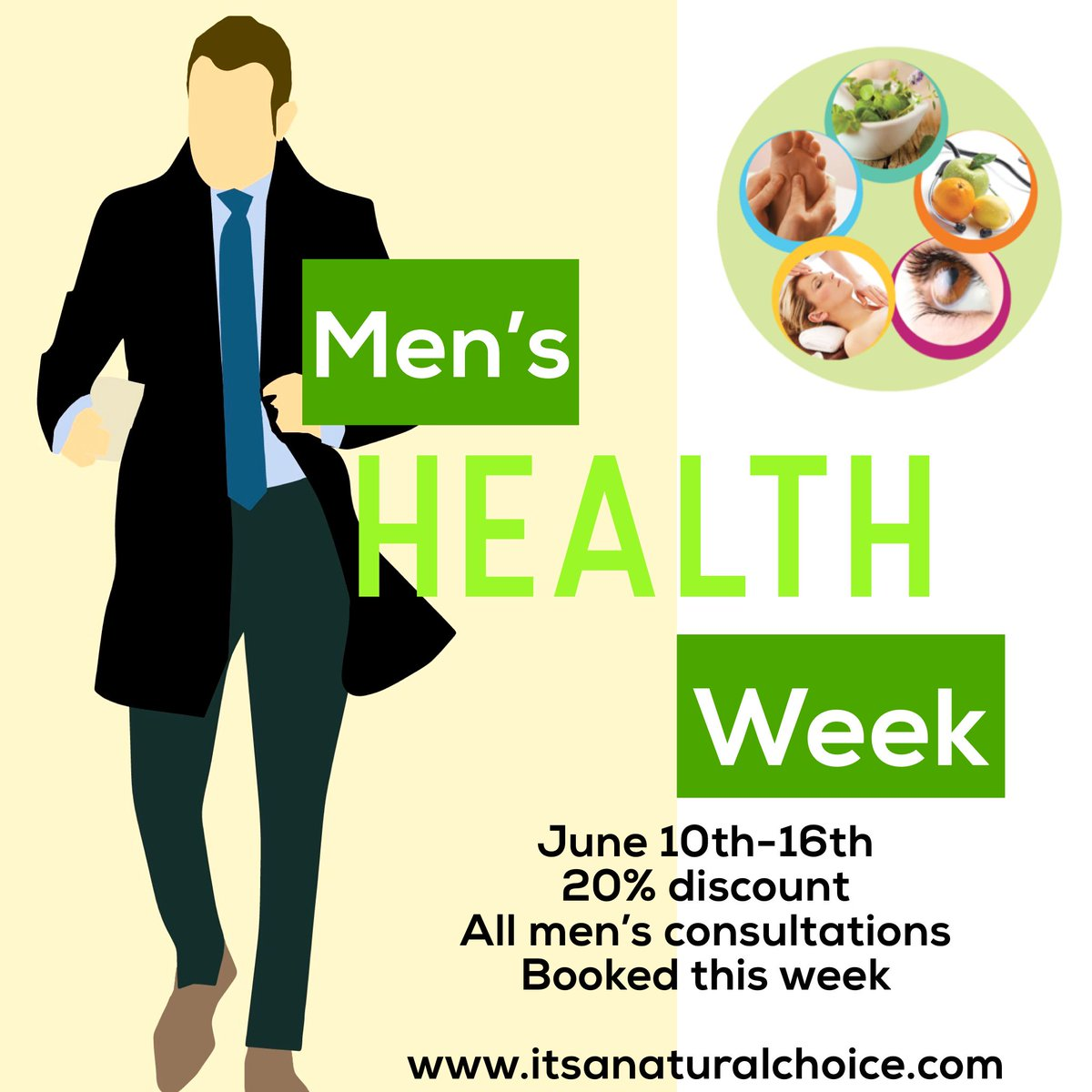 #MensHealthWeek   20% discount on men's consultations booked this week  #HealthyEating #HeartHealth #Arthritis #Prostate #Energy #Sleep #Libido #Pain #guthealth  I have wonderful male clients getting great results, Want to join them?  E- info@itsanaturalchoice.com T- 0870978880