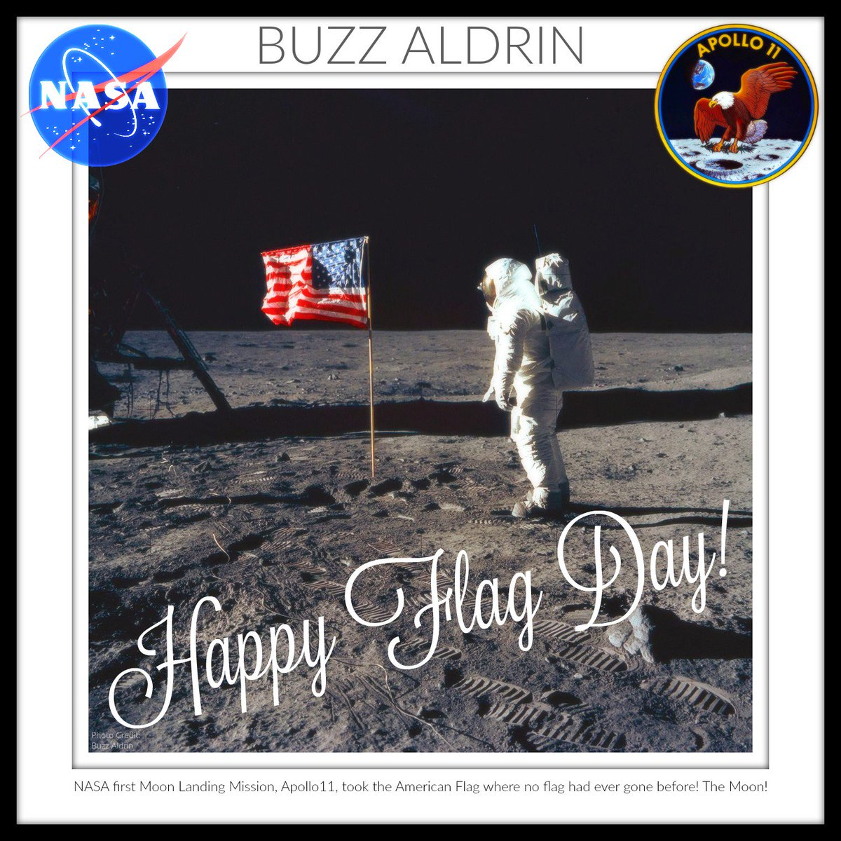 #Apollo11 took the #American #Flag where no flag had ever gone before! https://twitter.com/TheRealBuzz/status/1139747979097595904 … #Happy #FlagDay2019! 👨‍🚀🇺🇸🚀(The 50th #HappyAnniversary of #Apollo11 is on July20th.