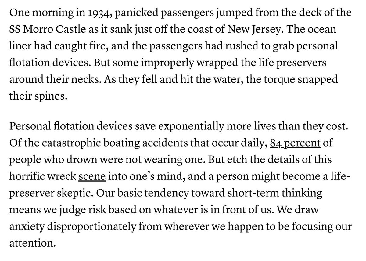 A great analogy ... except now Im imagining some of us playing this straight: whats our identification strategy here? After all, people who figure out how to use lifejackets mightve survived anyway! We need to exploit some clever discontinuity ... bit.ly/2XQnLNE