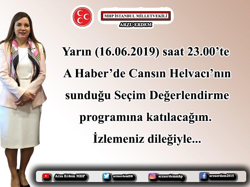 Yarın (16.06.2019) saat 23.00'te A Haber'de Cansın Helvacı'nın sunduğu Seçim Değerlendirme programına katılacağım. İzlemeniz dileğiyle...