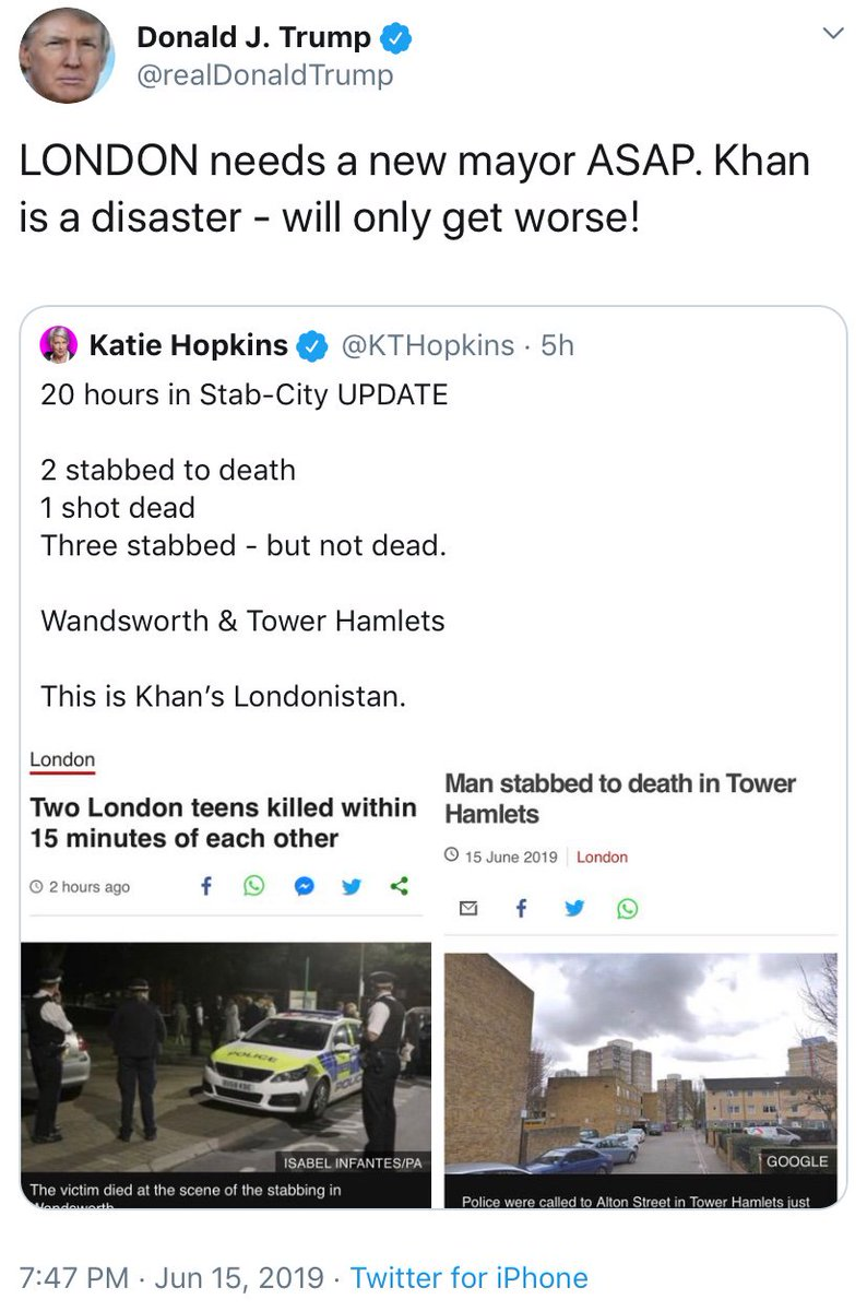 Just Donald Trump quote tweeting the virulently Islamophobic Katie Hopkins to attack London's Muslim Mayor Sadiq Khan once again. Londonistan is also highly racialised term. This should be widely condemned. <br>http://pic.twitter.com/ACoybIgIet