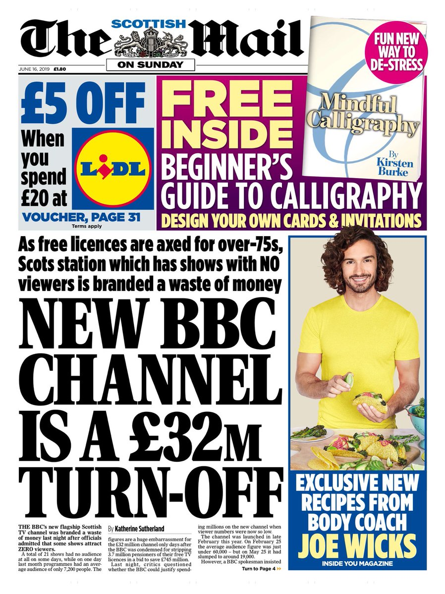 SCOTS MAIL ON SUNDAY: New BBC Channel is a £32m turn-off #tomorrowspaperstoday