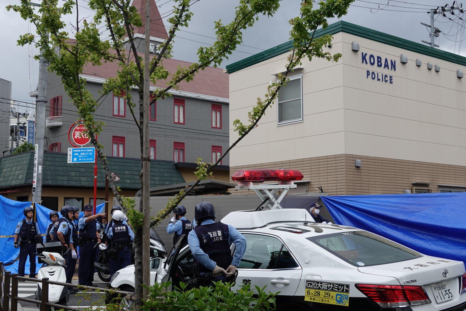 千里山交番で警察官が包丁で刺され拳銃奪われた強盗殺人事件の現場画像