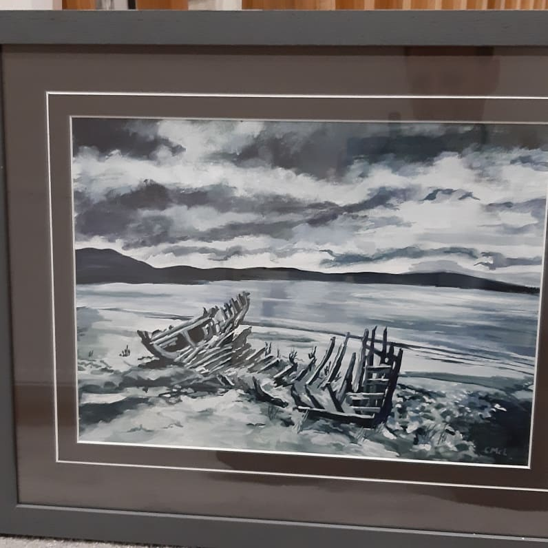 A lovely painting - looking at the clouds - it must be summer in Scotland 😜 this one has been framed in a single dark grey mount with a v-groove cut, framed with a flat, dark grey frame. #ntframing #custompictureframing #pictureframing #laurencekirk #art #gallery #NorthEast