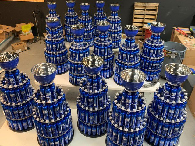 """Bud Light Cups"" that will be distributed to bars in St. Louis tonight to continue the St. Louis Blues title celebration, made out of limited-edition Blues championship bottles."