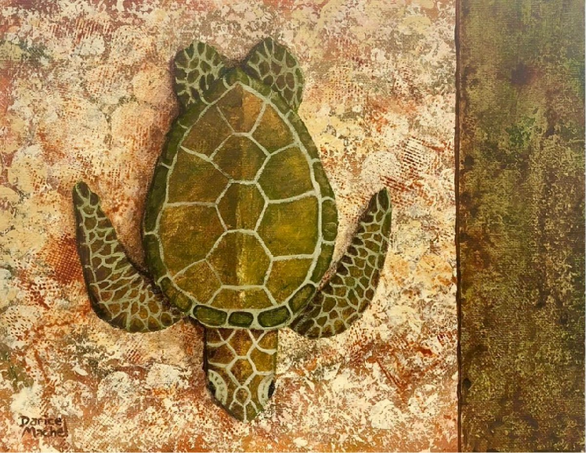 """RT @Sketchbook0918 - @DariceMachel Here's an #Hawaiian #green #turtle for """"good luck"""" ;)  from our #nature #art #gallery :)  TITLE: #HONU #MAUI by @DariceMachel MEDIUM: #acrylic on #canvas  for details=> http://bit.ly/2LBPy2M  #illhueminati #IndieArtBlast #BigArtBoost"""