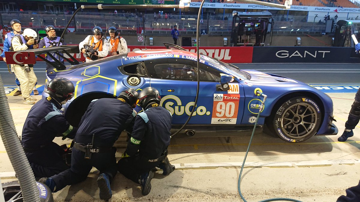 15/24H   Euan pits for the 15th time. Long stop doing rear brakes and refuelling. Dropped from third to ninth, with pending stops for the cars ahead.   #LeMans24 #WEC #SuperFinale
