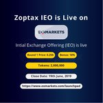 Image for the Tweet beginning: #Zoptax intial exchange offering (IEO)