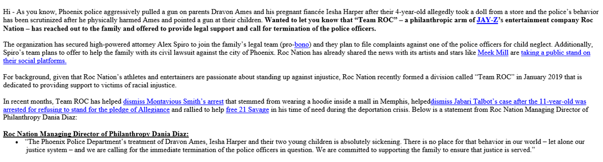 Jayz's #TeamROC has reached out to the #Phoenix family offering legal support and call for termination of the @phoenixpolice officer caught on camera using excessive force.<br>http://pic.twitter.com/XVKJuvTf6v