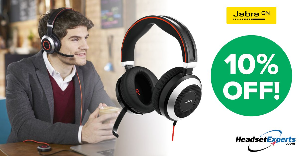 The Jabra Evolve 80 is just one of the #headsets on #sale now! Check it out in our list of applicable headsets 10% off through July 12! 🎧👉 http://bit.ly/2Xf1RGP   #ucoms #collaboration #wired #wireless #bluetooth #headset #jabra #sennheiser #plantronics