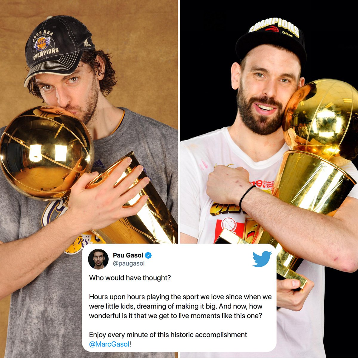Brothers. Champions. @paugasol and @MarcGasol made NBA history in their own way.