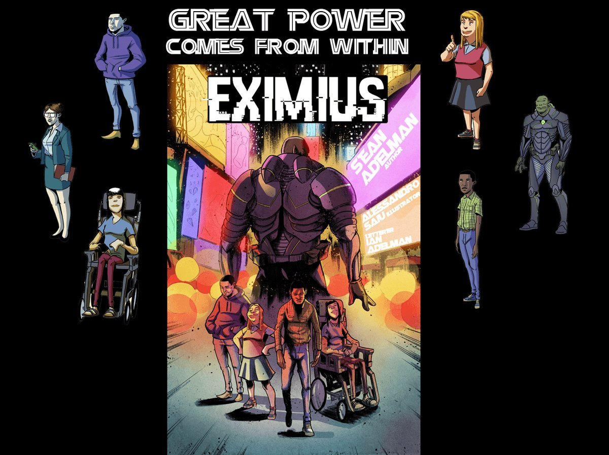 This all-ages, action packed adventure shows that superheroes come in all shapes, sizes and abilities. #Eximius #EximiusNovel #Website #reading #writing #GraphicNovel #Superhero #Novel #amreading #amwriting #DifferentlyAbled #Inclusion #Diversity https://eximiusnovel.com/donate/