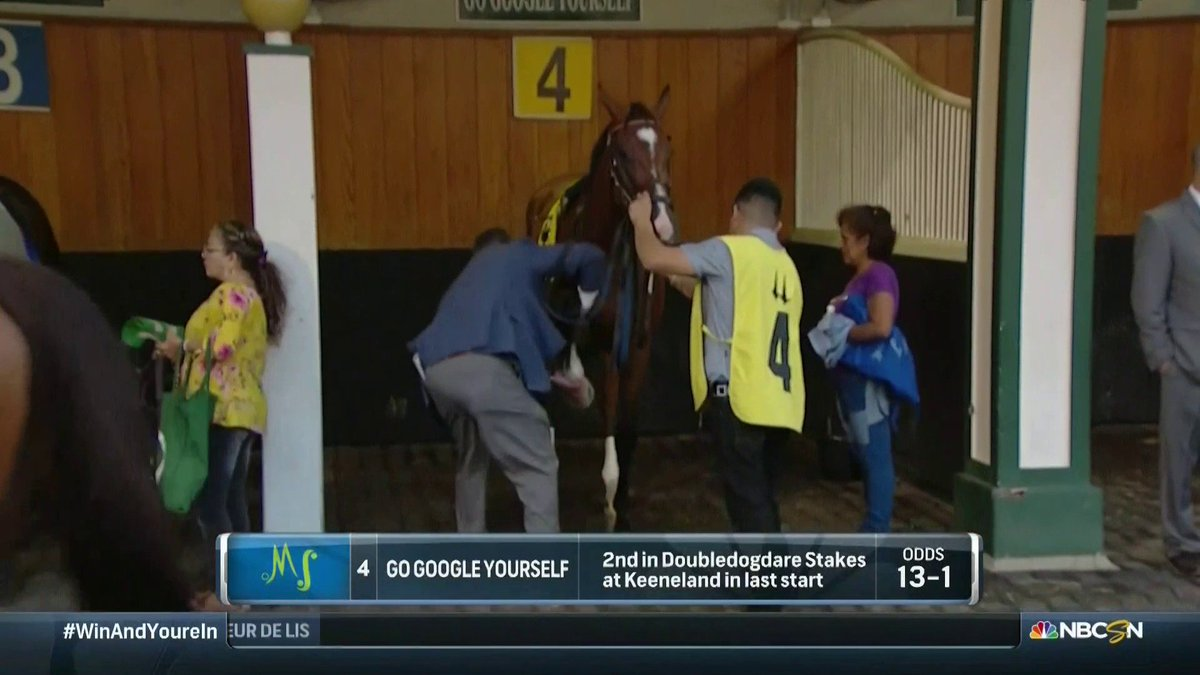 What a name. Go Google Yourselfs odds are 13-1 for the Fleur de Lis, live now on NBCSN.