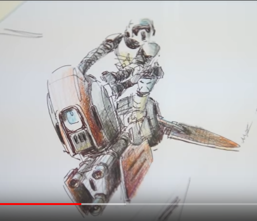 This is a sketch from designer Nilo Rodis-Jamero from Adam Savage's Tested (May 15, 2019). I love the energy in this piece: the Speeder Trooper's lean is everything to me. #conceptart #NiloRodisJamero #designart #industrialdesign #costumedesign #StarWars  https://www.youtube.com/watch?v=ng3Ivf0eZIY…