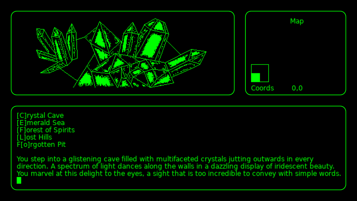 You enter into a glistening cave filled with multifaceted crystals jutting outwards in every direction. Light dances along the wall with iridescent beauty. #advjam2019 #IndieDev #indiegame #gamedev #videogames #adventure #puzzle #mystery #textadventure #love2d #monochrome