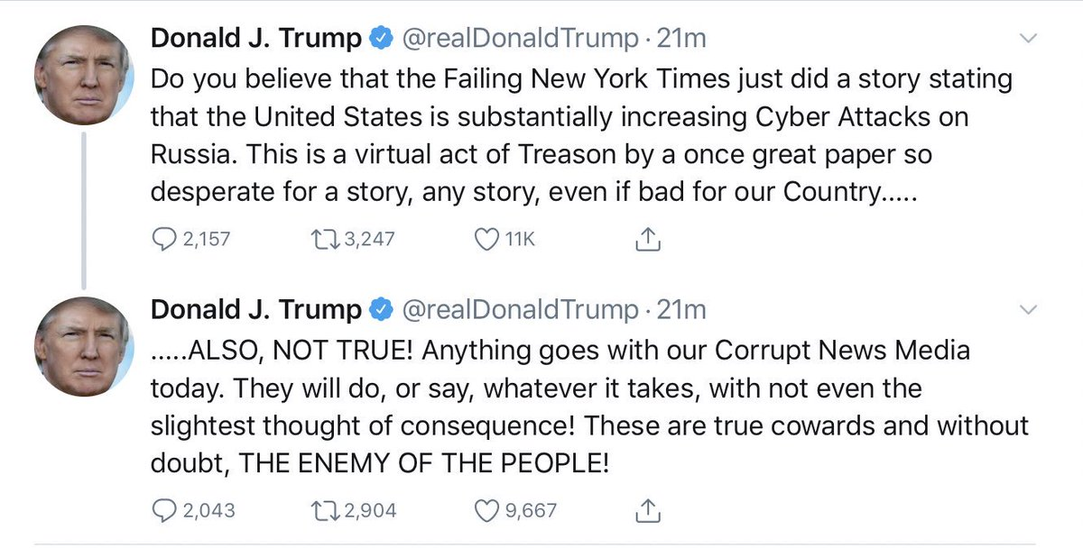 So to recap: it's treasonous that the New York Times reported on U.S. cyberstrategies that according to you are... not true?
