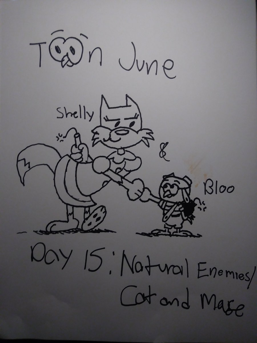 Day 15 of @AtroxChobatsus #ToonJune: Natural Enemies/Cat and Mouse. Normally, you see cats, dogs, mice or birds play a game of cat and mouse. Well, That game applies to other animals, no matter what gender. #ToonJune2019