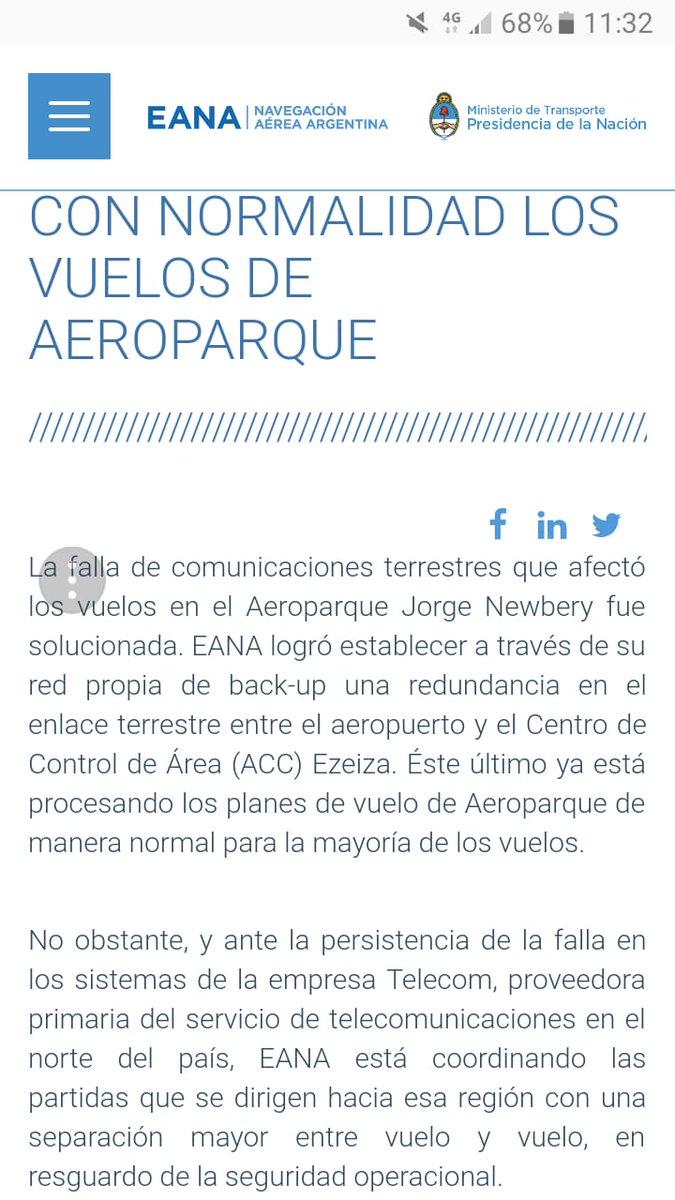 Octubre de 2018, las Comunicaciones Aeronáuticas, ya habían sufrido una falla importante que generó inconvenientes en los vuelos. El prestador #Eana optó por involucrar a #Telecom. #Anac como autoridad competente, nuncva dio veredicto por lo ocurrido. Pero las fallas persisten.