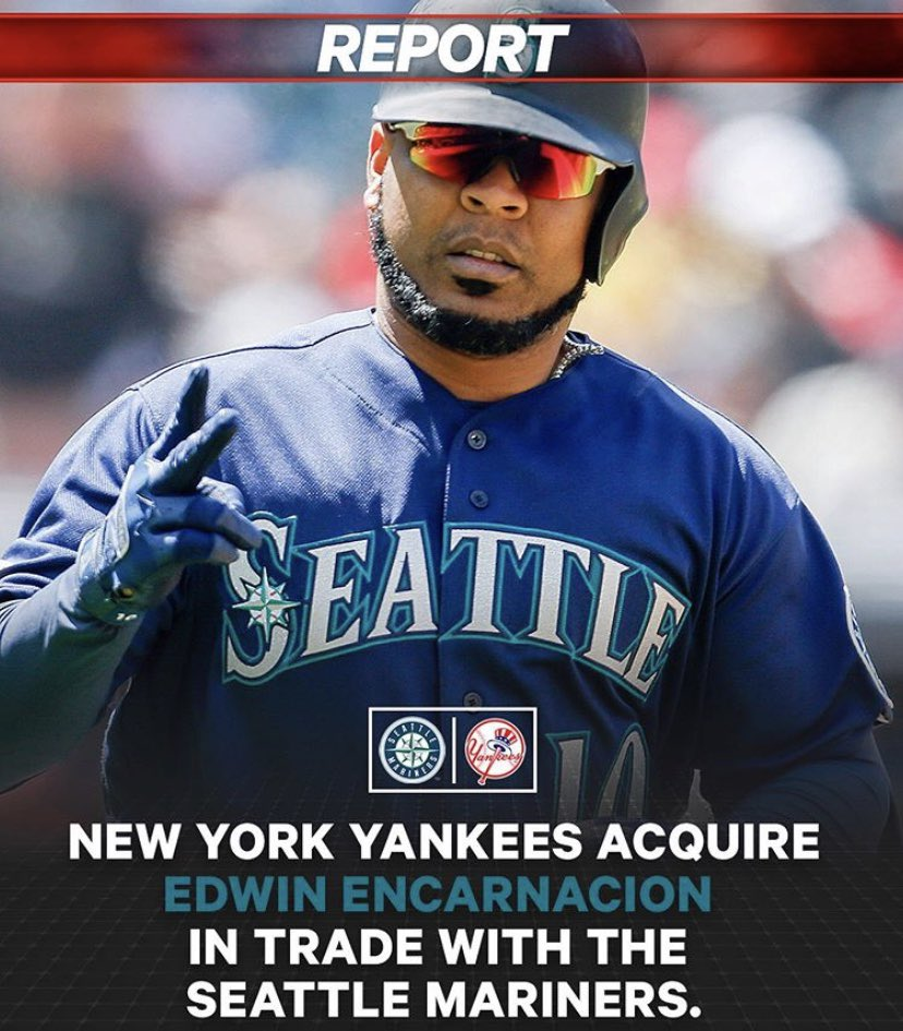 The New York Yankees have acquired Edwin Encarnacion in a trade. #CK_SportsNews #Trade #MLB #Yankees #Mariners