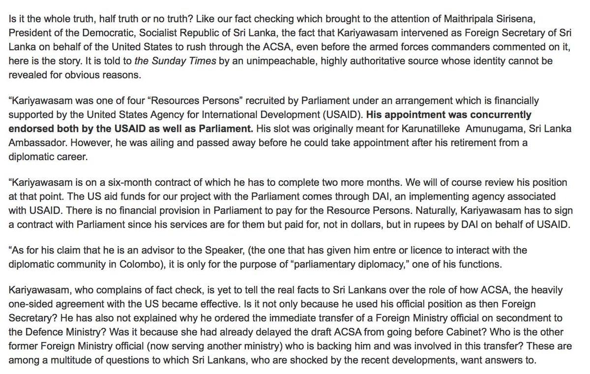 The Sunday Times continues saga on Kariyawasam and ACSA   http://www.sundaytimes.lk/190616/columns/president-considers-new-gamble-but-it-is-likely-to-fail-353764.html?fbclid=IwAR1ejkQd9EKhJ-TThqKGBm1olfLxN9u6747HHmLzhIZ9tWJr0i7vHnWFplo…