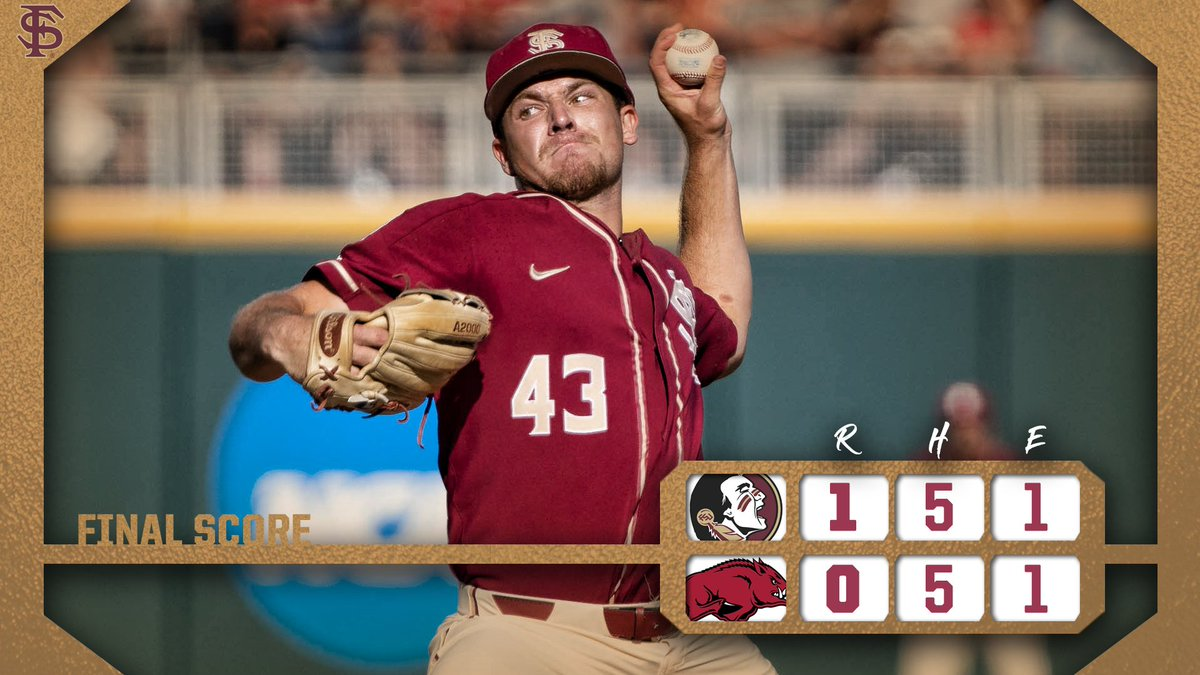 NOLES WIN!  Florida State shuts out Arkansas to secure the victory in Omaha!   WP: Parrish LP: Scroggins SV: Flowers