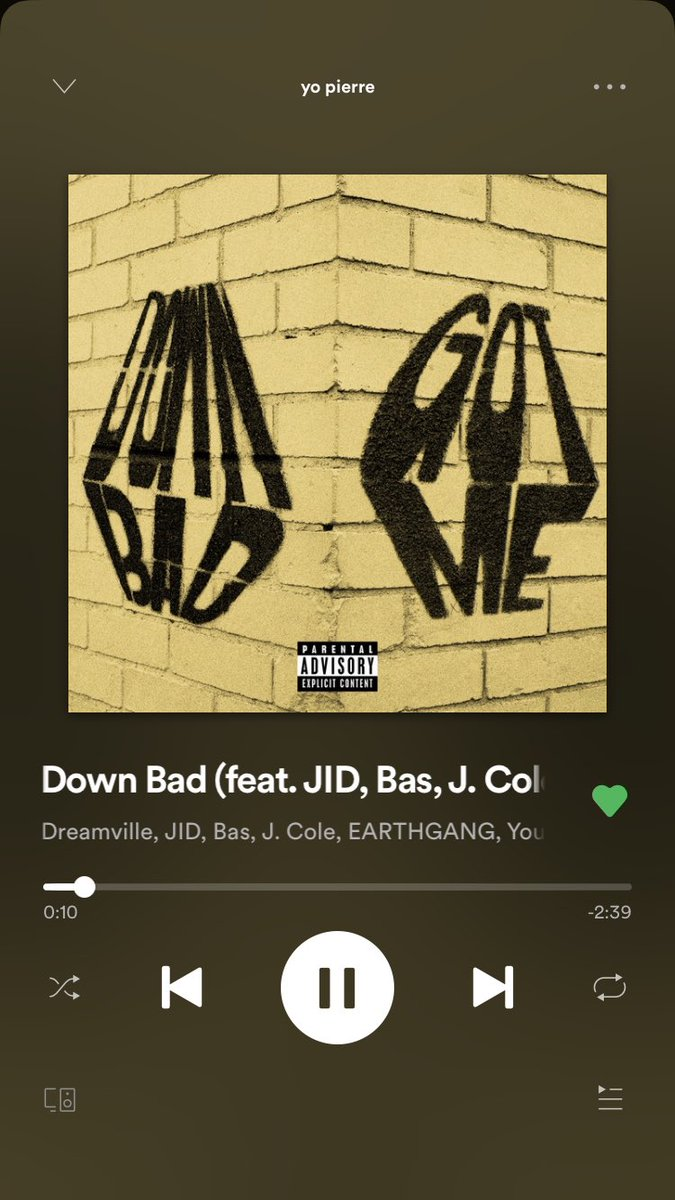 not tryna flex but ive streamed down bad 132 times since it came out, thank me when you reacher #1 @Dreamville @Bas @JColeNC @JIDsv @PDE_YOUNGNUDY @EarthGang<br>http://pic.twitter.com/XqcZbTGxj9