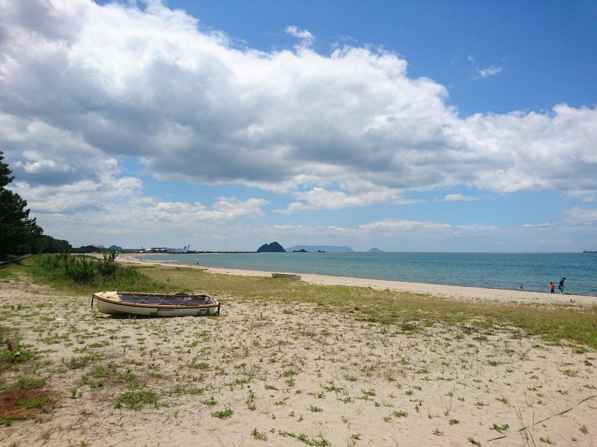 仕事の合間の休憩!、光市の虹ヶ浜海水浴場。 海が夏の色になってきてる。 https://t.co/hxwXQCuHcB