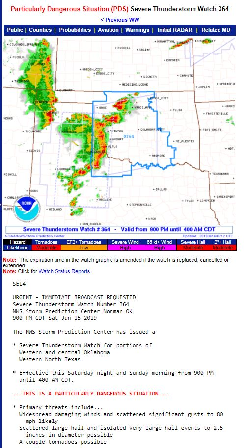A rare PDS Severe T-storm Watch has been issued!