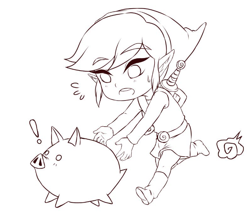 GO AND CATCH THE DAMN PIG!!!   #wip #link #windwaker #zelda #fanart #wip<br>http://pic.twitter.com/Z91qccB3uF