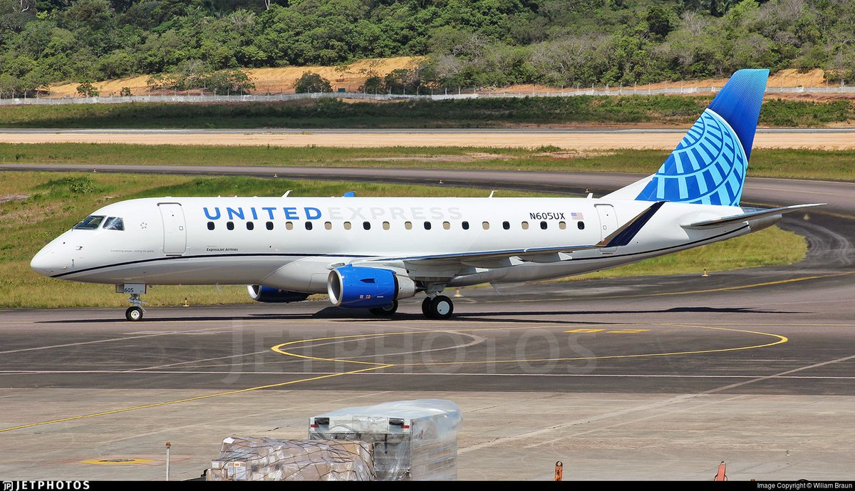 A new E175 for United Express in Manaus wearing United's new livery. https://www.jetphotos.com/photo/9342477 © Wiliam Braun