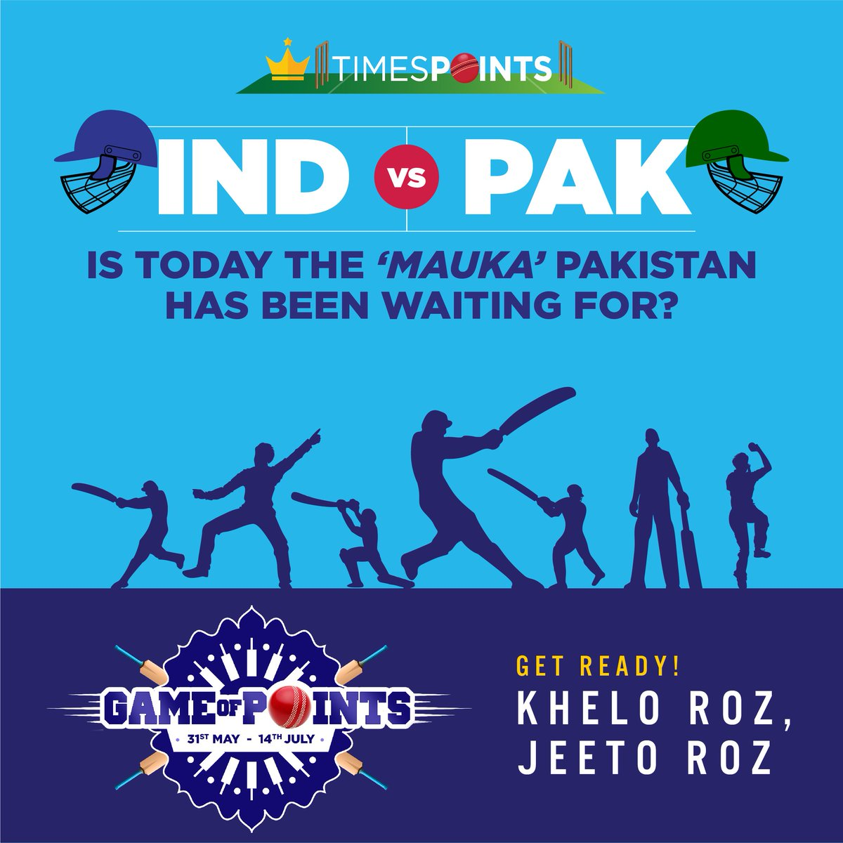 The Boys in Blue clash with the Green Army. Go bit.ly/2WIhMcq to know how to enroll. Ab khelo roz, jeeto roz. @Timesinternet @TataCLiQ #iccworldcup2019 #CWC19 #TataCLiq #TeamIndia #INDvPAK #WeHaveWeWill #GameOfPoints