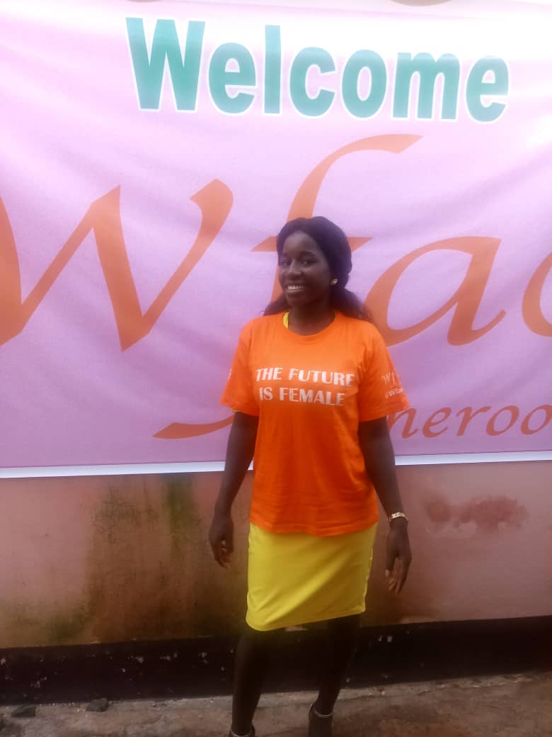 PYLA out reach manager at the Women for a Change Cameroon (wfac) initiative to empower youths especially girls on pertinent issues such as women and environmental issues, women empowerment among others. #ServingForPeace  #WomenEpowerment  @UN_Women