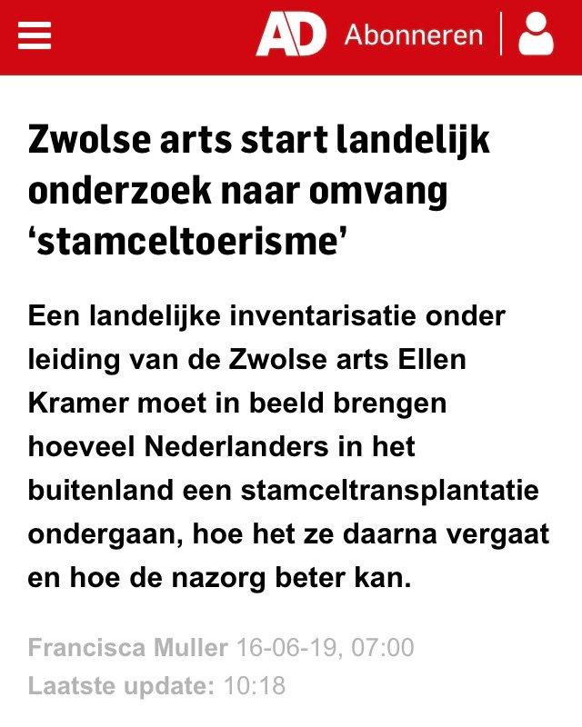 Zwolse arts start landelijk onderzoek naar omvang 'stamceltoerisme'. #MS #stamceltherapie https://www.ad.nl/zwolle/zwolse-arts-start-landelijk-onderzoek-naar-omvang-stamceltoerisme~a96908da/…