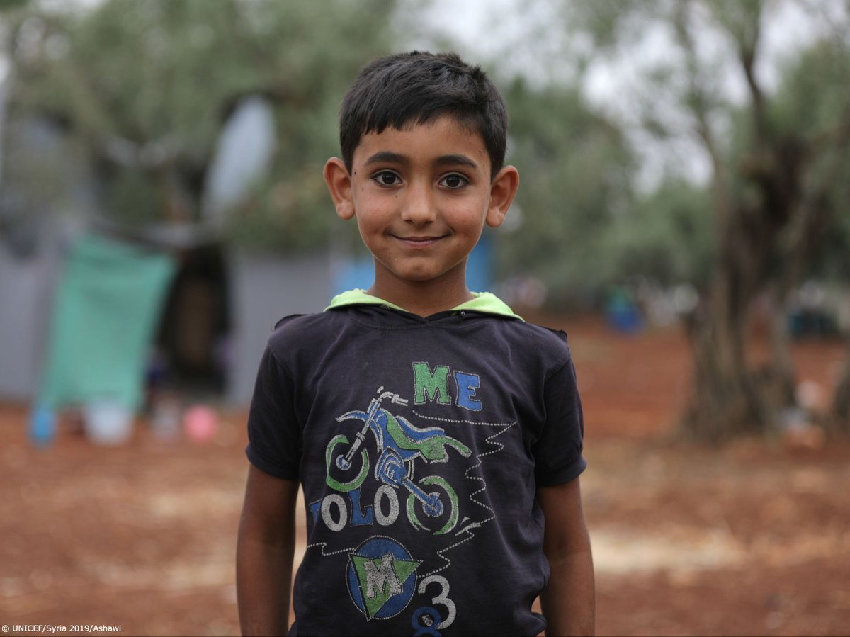 """""""I wanted to bring the toys I left back home. We left quickly. We didn't take anything with us,"""" says Yamin, 8. Ongoing violence has forced hundreds of children from Atmah, #Syria to spend Eid al-Fitr in makeshift camps near the border of Turkey. v/@unicef #ChildrenUnderAttack"""