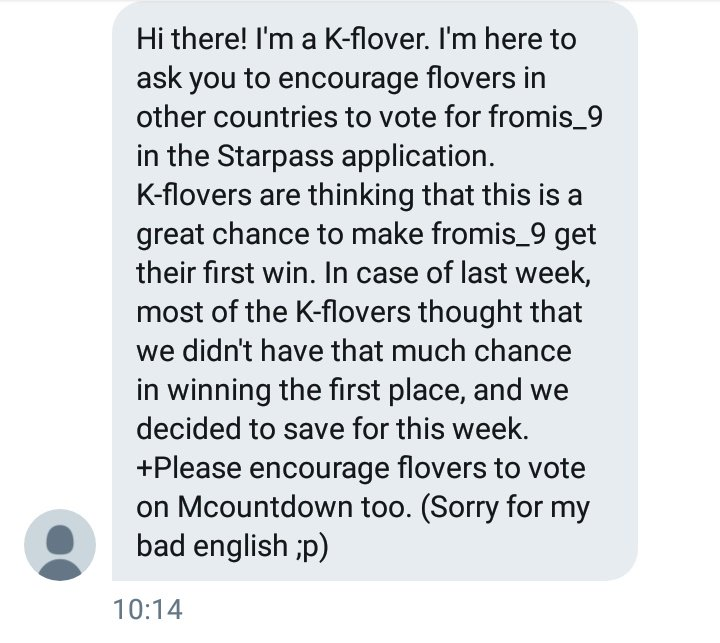 K-flovers ask us to encourage intl-flovers to vote fromis_9 on starpass, Lets work hard to make fromis_9 1st win happen!!  VOTE FROMIS_9 ON STARPASS NOW!!  PS: NO.3 make a mass voting and bought a lot of votes!  #Fun_fromis_9 #프로미스나인 #fromis_9 @realfromis_9<br>http://pic.twitter.com/2eZCh8eWev