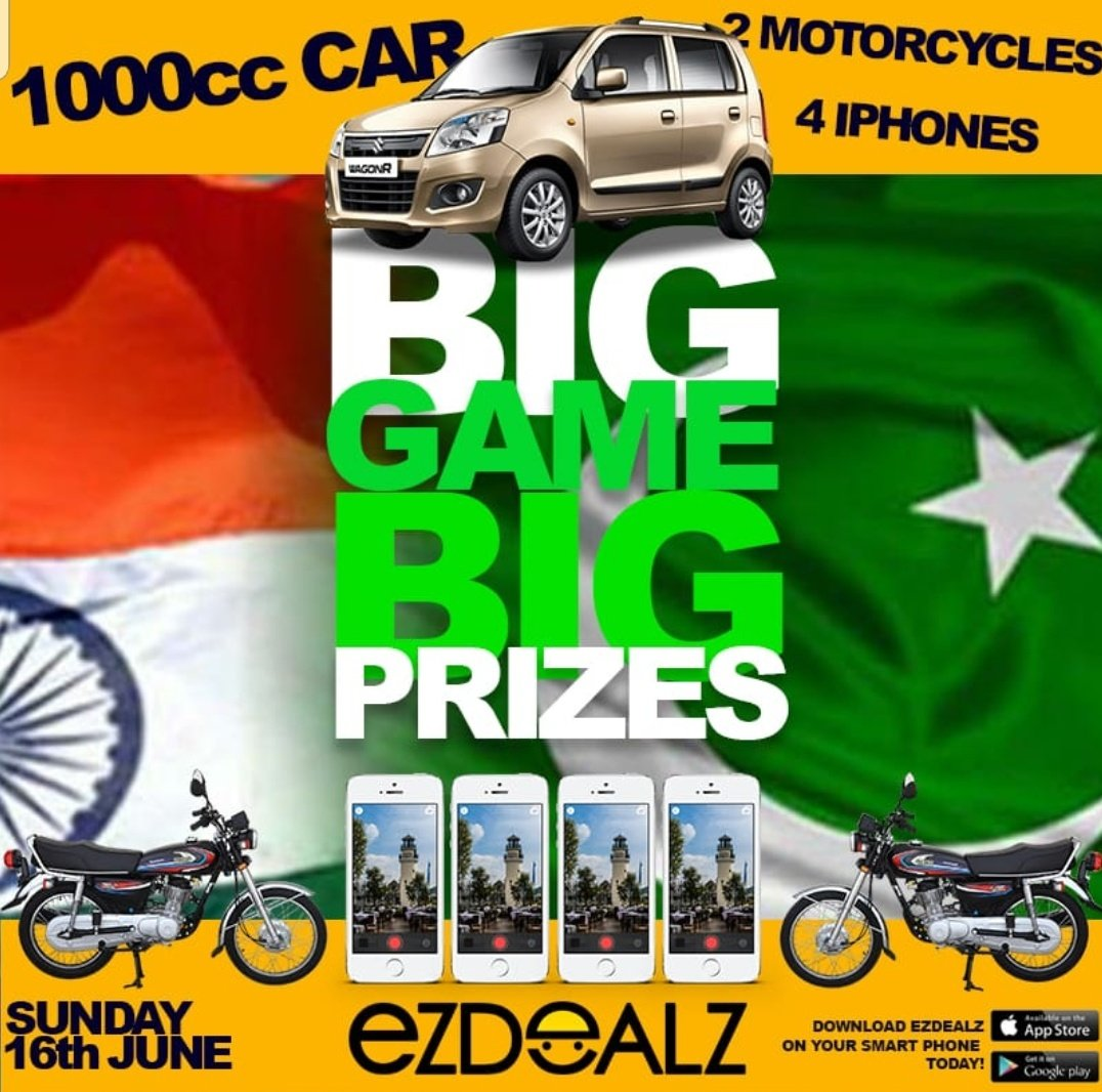 11 15am tune into @PTVSp0rts as we start coverage of the BIG match #PAKvIND and you can WIN BIG with EzDealz mobile app. We will play multiple questions during the pre and post match show LIVE for 4 IPhones plus sets, 2 motorbikes, ONE 1000cc Car and more prizes. See you all.