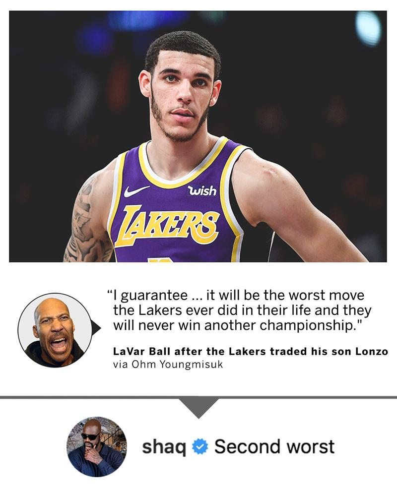 Shaq can think of a move worse than trading Lonzo Ball 😆