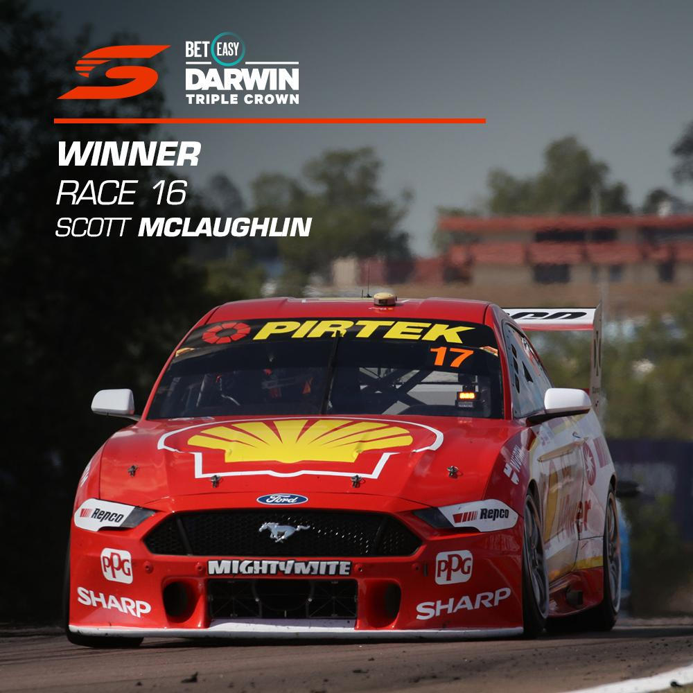 TRIPLE CROWN KING 👑👑👑  @smclaughlin93 takes out Race 16 and becomes the first driver ever to win the Darwin Triple Crown.  #VASC