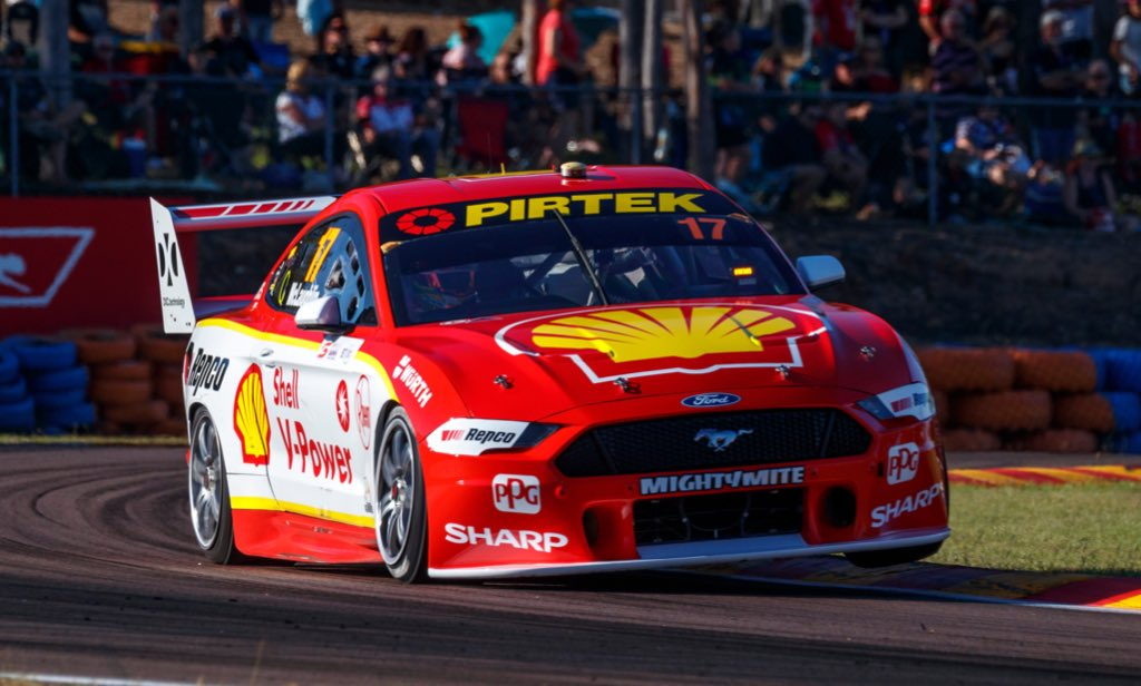 The Triple Crown has finally been won! All six @FordPerformance Mustangs finish in the Top Ten, with @smclaughlin93 taking the win for  @DJRTeamPenske to become the first driver to win the @DarwinSupercars Triple Crown! @supercars @DJRTeamPenske @TickfordRacing #VASC