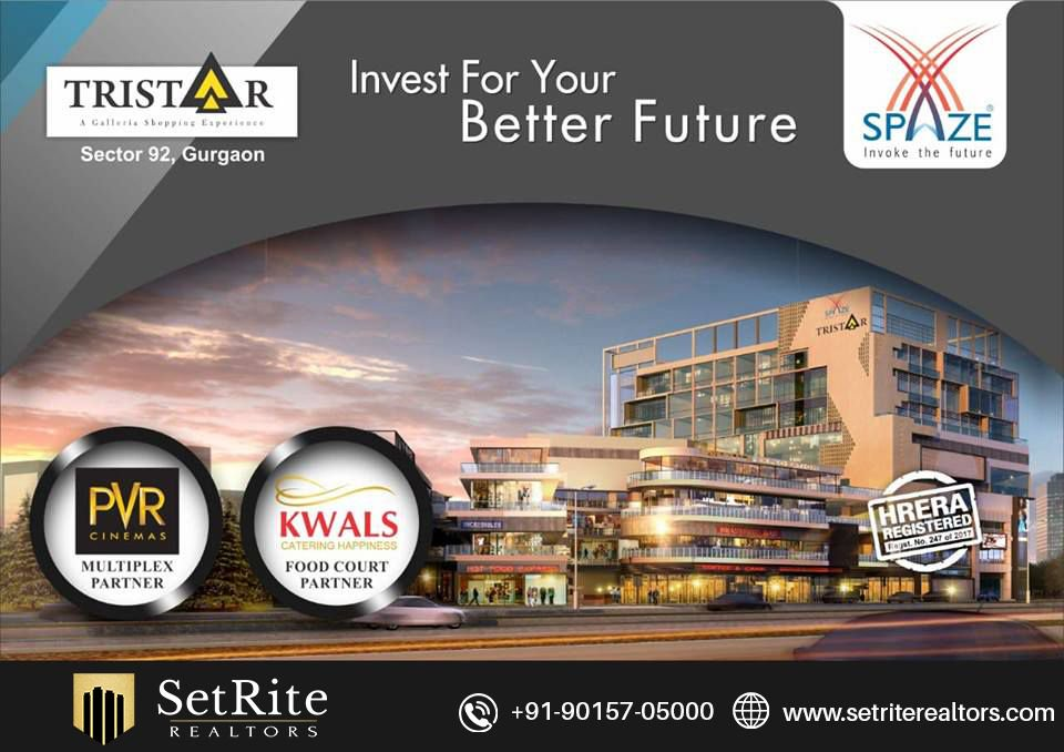 * Low Maintenance Retail Shops With Double Heights * 5 Screen Multiplex by PVR Cinemas * 50:50 payment | Shops Starting Rs. 35 Lac* * Pay 20% now Balance on Possession  Know More:- https://buff.ly/2Ftd0Yo   #Spaze #Tristar #Retail #Shop #Food #Court #Multiplex #Office #Space