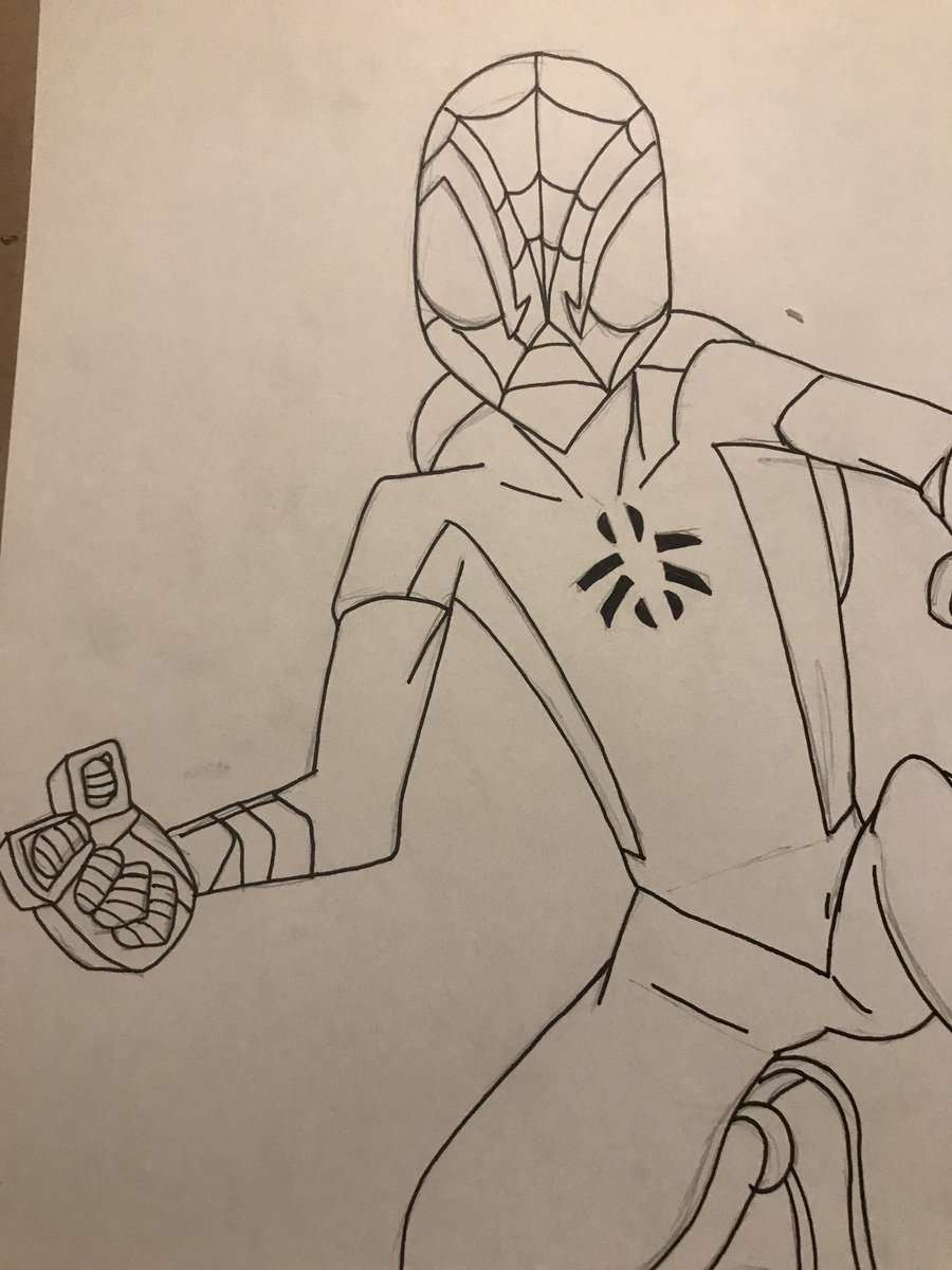 Spider-Man from the Marvel Mangaverse WIP  ... #spiderman #marvel #mangaverse #mangaversespiderman #manga #wip #workinprogress #sketch #penandink #conquesopublishing #cqcomics