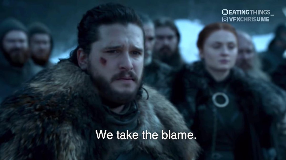 Comedy troupe #EatingThingsWithFamousPeople took a key scene from the eighth season of #GameofThrones and deployed some #deepfake vfx software to turn #JonSnow's rousing speech to the crowd into a profuse #apology to fans of the show. https://t.co/JCYhparnBp