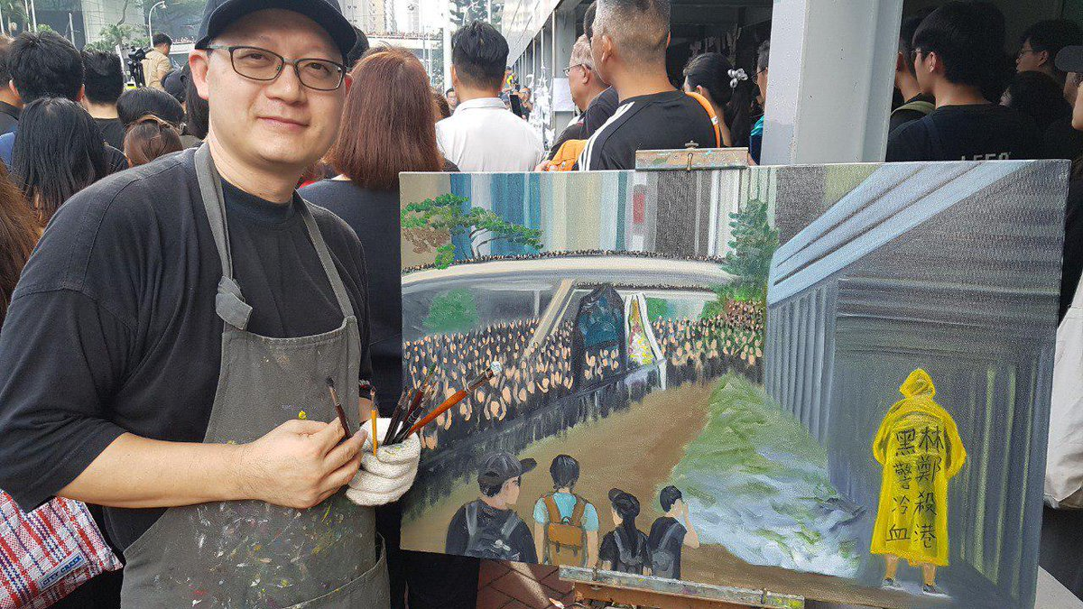 """""""All the citizens give flowers and hope he will be at peace,"""" said artist Perry Dino. """"I paint his ghost, standing here watching the scene.""""  👉 In full: http://bit.ly/extraditionhk"""