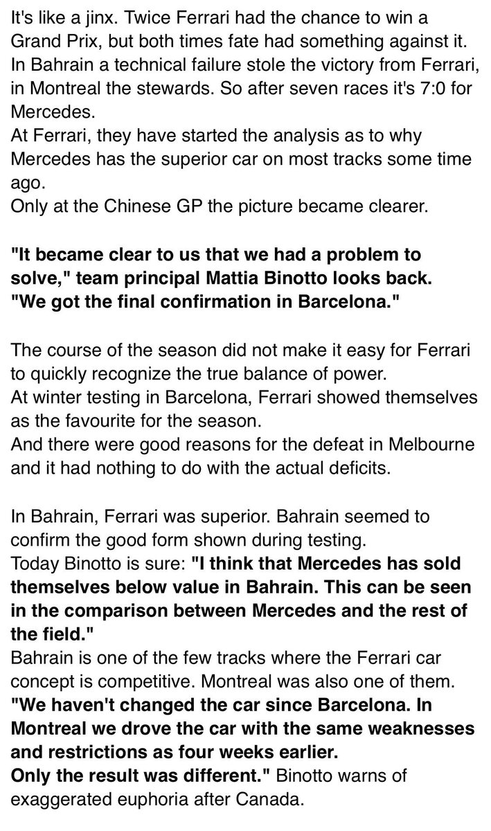 """#AMuS """"3 updates instead of a B-Version!""""  Mattia Binotto explains why Ferrari cannot win at the moment and how the problems with the car and the tyres should be solved. There won't be a B-Version of the SF90 with a new concept.  https://www.auto-motor-und-sport.de/formel-1/ferrari-krisen-plan-drei-upgrades-2019/…   Translation:  #F1"""