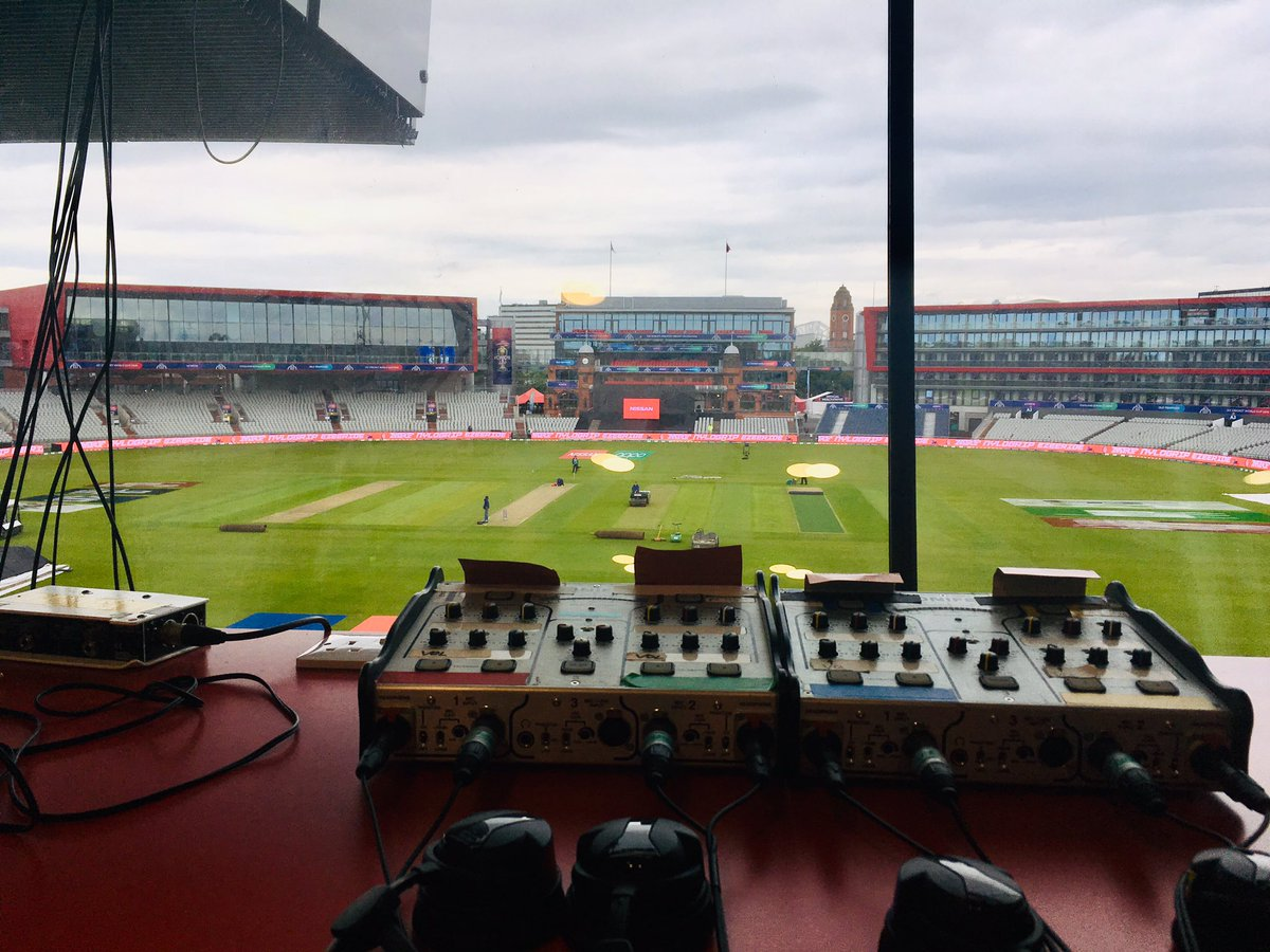 Calm before the storm. View from the @bbctms box at Old Trafford ahead of India v Pakistan. Commentary from 9.30am. #BBCCricket #CWC19