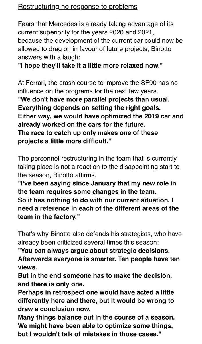 "Mattia Binotto: ""Restructuring at Ferrari is no response to problems.""  #AMuS : https://www.auto-motor-und-sport.de/formel-1/ferrari-krisen-plan-drei-upgrades-2019/…  Translation:   #F1 #Ferrari"