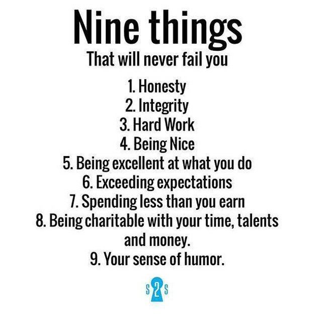 Nine things that will never fail you:<br>http://pic.twitter.com/mUCJAfX2Ws