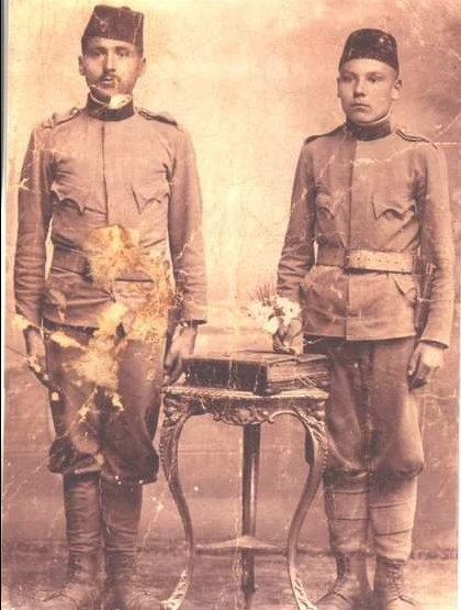 My great-grandfather Mustafa, left, member of Austro-Hungarian Army. POW in Italy during WW1 where he learned Italian. In WW2, the Italian army wanted to burn down his village due to Partisan cooperation. He spoke to them in Italian and managed to save the village. <br>http://pic.twitter.com/v0NSxy08VK