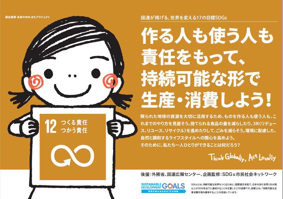 【☆SDGs×電車内ポスター4☆】 ゴール12~14のポスターです!😊 説明書きも分かりやすいので是非お読みください! #阪急電鉄&#阪神電車 #SDGsトレイン #ウマカケバクミコ
