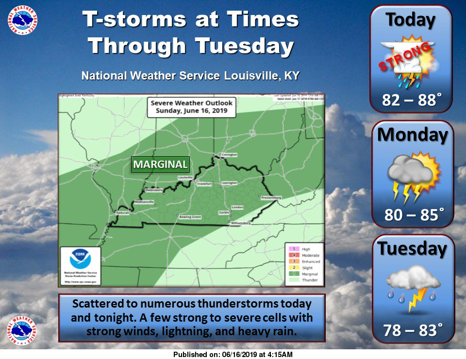 #inwx #kywx Sct to numerous t-storms at times today thru Tue, some w/ strong winds, heavy rain, and frequent lightning. Dry between storms.
